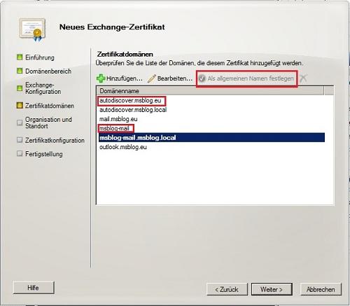 exchange 2010 zertifikat